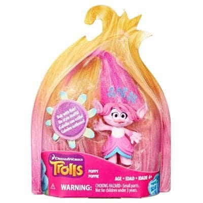 Guy Diamond Moxie - Poppy Set of 5: DreamWorks Trolls Small Town Collectible Figures Wild Printed Hair Series Branch Maddy