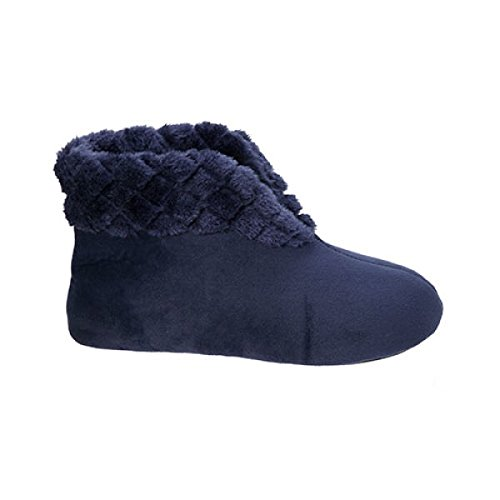 Quilted Bootie - Dearfoams Women's Velour Bootie w Quilted Cuff, Peacoat, S/5-6 M US