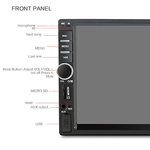 UMFun 7 Inch 1080P Double 2DIN Car MP5 Player BT TOU+ch Screen Stereo Radio HD Black]()