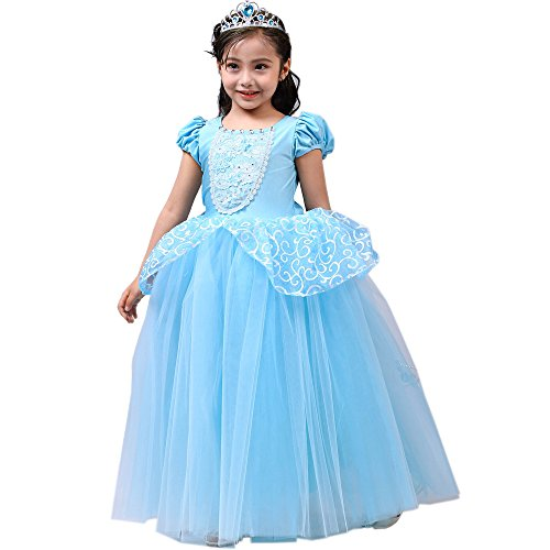 Party Dress Portrait (SIZANI Girls Princess Cinderella Costumes Princess Dress up, Kids Party Cosplay Costume Queen Dresses for Little Girls 2-12T)