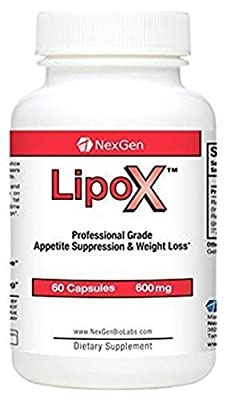 60-capsule Bottle of Lipox Diet Pills for Weight Loss and Appetite Suppressants