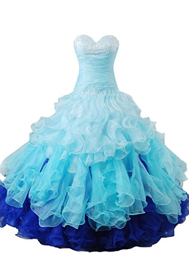 Snowskite Gril's Gorgeous Sweetheart Rainbow Quinceanera Dresses Ruffle Prom Gowns 22 (Rainbow High Low Prom Dress)