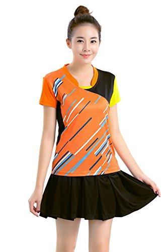 Badminton Clothing - XFentech Badminton Jerseys Uniforms Table Tennis Clothing Sportswear Set 2 PCS, Orange-Womens, US S = Tag M
