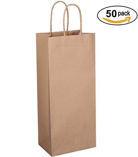 "BagDream Kraft Paper Bags 5.25""x3.25""x13"" 50pcs Wine Bags, Gift Bags, Kraft Bags, Retail Bags, Brown Paper Bags with Handles"