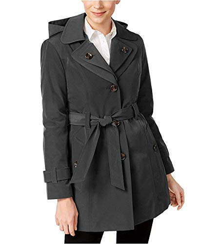 (London Fog Women's Hooded Belted Trench Coat Cambridge Blue Large)