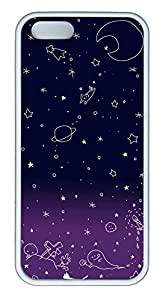 Purple Star Graffiti Cover Case Skin for iPhone 5 5S Soft TPU White