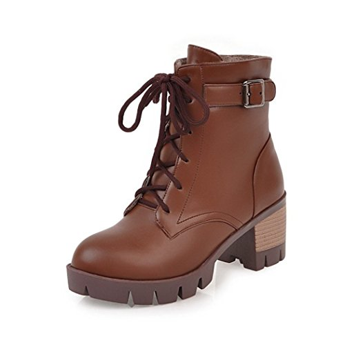 ZQ@QX Otoño e Invierno de cabeza redonda con negrita, con elegantes correas de hebilla, Martin botas botas hembra Brown
