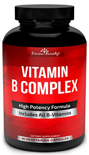 Super B Complex Vitamins - All B Vitamins Including B12, B1, B2, B3, B5, B6, B7, B9, Folic Acid - Vitamin B Complex Supplement for Stress, Energy and Healthy Immune System - 90 Vegetarian Capsules (Best Vitamins For Energy And Stress)