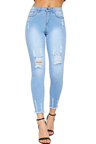 Maigre Pantalon Dames Bleu Femmes 34 44 Jean Pantalon Ripped WearAll Jeans De Effiloch Cheville Toile Clair Jambe z5wvnvUW1Z