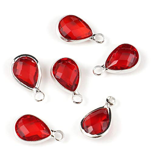 Red January Charm - 30pcs January Red Birthstone Charms 11x7mm Teardrop Crystal Beads Silver Plated Brass for Jewelry Craft Making CCP13-1
