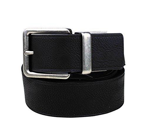[Wolverine Men's Reversible Black/Brown Pebbled Jeans Belt With Engraved Logo,34] (Leather Pebbled Buckle Belt)