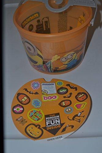 (Mcdonalds 2015 Minion Halloween Bucket #3, Rare Orange W/handle and Cardboard Insert)