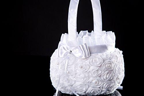 Lady Bella Wedding workshop Sequin wedding baskets white for flower girl -