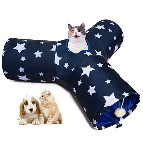 Luckitty Large Cat Toys Collapsible 3 Way Tunnel Tube with Plush Balls, for Small Pets Bunny Rabbits, Kittens, Ferrets,Puppy and Dogs,White Navy Blue