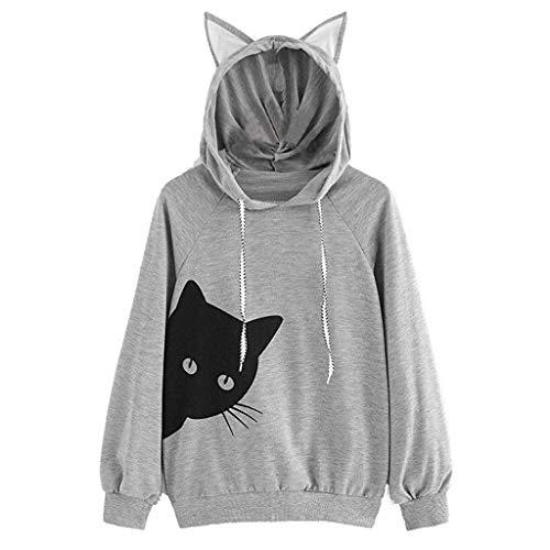Hoodies for Womens, FORUU Ladies Sales 2018 Winter Warm Under 10 Best Gift for Girlfriend Cat Long Sleeve Hoodie Sweatshirt Hooded Pullover Tops Blouse GY/L (Korn Printed T-shirts)