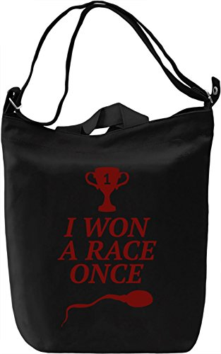 I won a race once Borsa Giornaliera Canvas Canvas Day Bag| 100% Premium Cotton Canvas| DTG Printing|