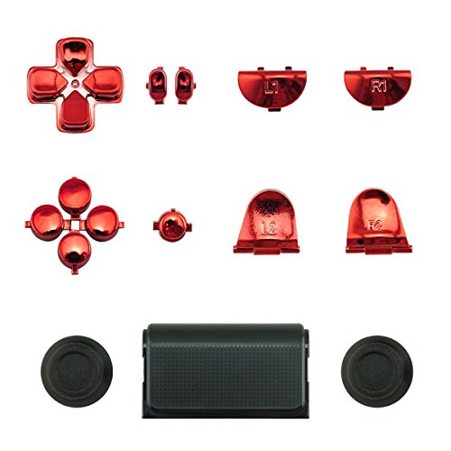 WPS Touch Pad Thumbsticks Dpad Full Buttons Set Replacement parts for PS4 Playstation 4 Dualshock 4 controller shell ( For GEN 1 Controllers) (Chrome Red)