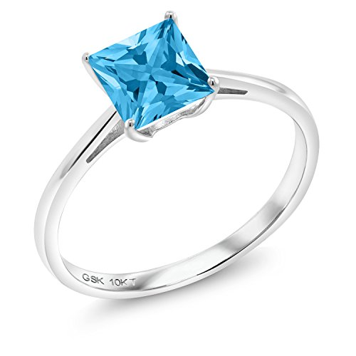 Gold Swiss Cut Ring - Swiss Blue Topaz 10K White Gold Women's Solitaire Ring 1.16 Ct Princess Cut (Size 7)