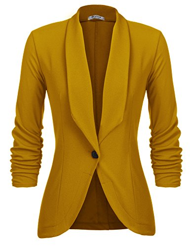 (Beyove Women's 3/4 Sleeve Blazer Open Front Cardigan Jacket Work Office Blazer Mustard XXL)