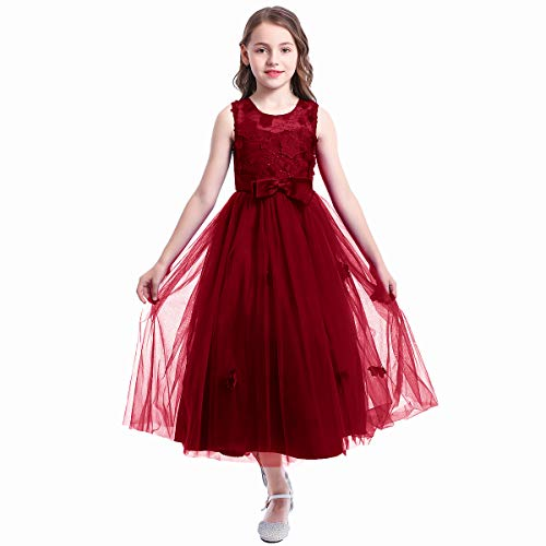 Kids Girls Lace Embroidery Bowknot Princess Wedding Bridesmaid Party Dress Gown