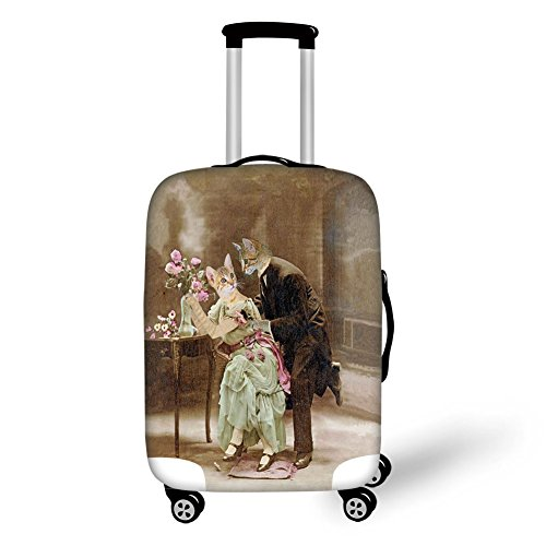 Travel Luggage Cover Suitcase Protector,Cat,Vintage Painting of Two Kittens Dating Victorian Couple Romance Love Theme,Brown Pale Green Pink,for Travel by iPrint