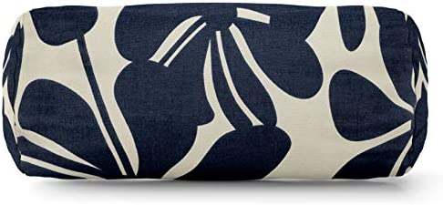 Majestic Home Goods Navy Blue Plantation Indoor / Outdoor Round Bolster Pillow 18.5″ L x 8″ W x 8″ H