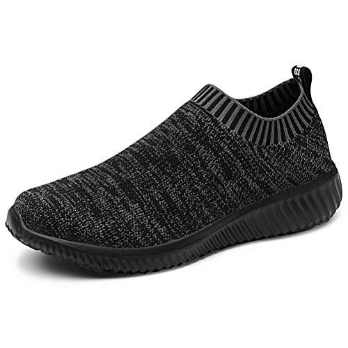 konhill Women's Casual Walking - Shoes Breathable Mesh Work Slip-on Sneakers 8.5 US All Black,39