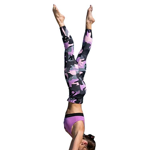 Price comparison product image FENZL Women's Camouflage Workout Leggings Running Tights Yoga Pants (L,  Pink)