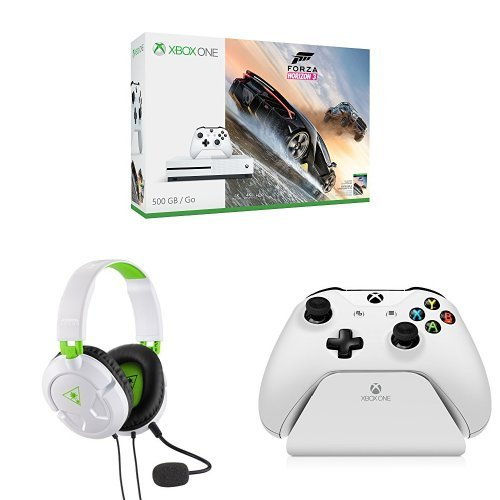 Xbox One S 500GB Console – Forza Horizon 3 Bundle + Turtle Beach Recon 50X White Stereo Gaming Headset + Controller Gear White Controller Stand v2.0