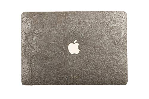 WOODWE Real Stone MacBook Skin Sticker Decal for Mac pro 13 inch with/Without Touch Bar | Model: A1706/A1708/A1989; Late 2016 – Mid 2017 | Natural Silver Grey Stone | TOP&Bottom Cover