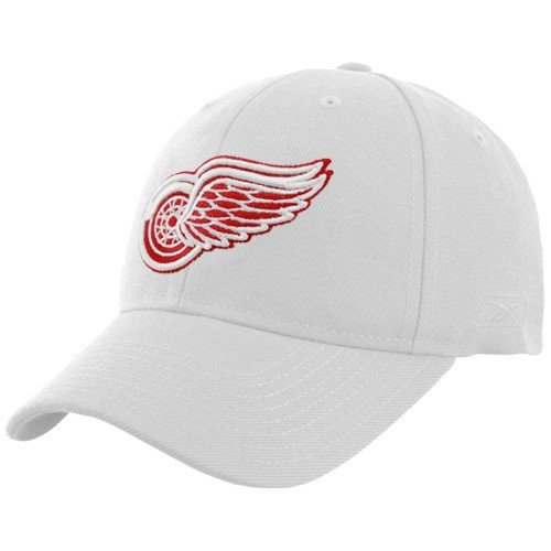 (Reebok Detroit Red Wings White Basic Logo Wool Blend Adjustable Hat)