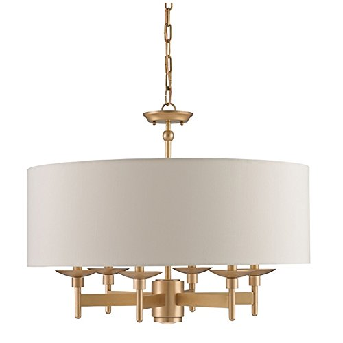 Currey and Company 9299 Bering - Six Light Chandelier, Antique Brass Finish with Eggshell Shantung Shade