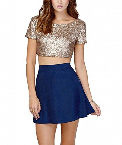 Divas Love Women's Glitter Sequins Backless Crop Top T-Shirt