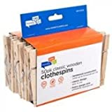 Honey-Can-Do DRY-01375 Wood Clothespins with Spring, 50-Pack, 3.3-inches Length