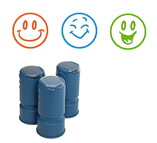 3 Happy Face Stamps, Self Inking Smiley Stamps for teachers, scrapbooking or card-making, Rubber Stamper with Premium Ink