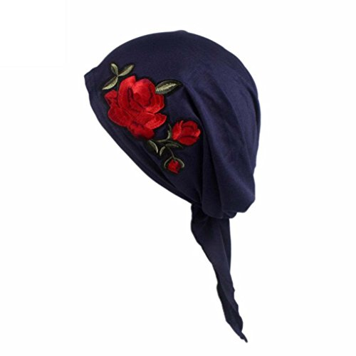 Women Rose Embroidery Cancer Chemo Hat Beanie Scarf Turban Head Wrap CapLaimeng_World (Navy)