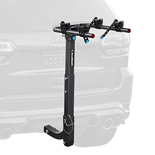IKURAM 2 Bike Rack Bicycle Carrier Racks Hitch Mount Double Foldable Rack for Cars, Trucks, SUV's and minivans with a 2
