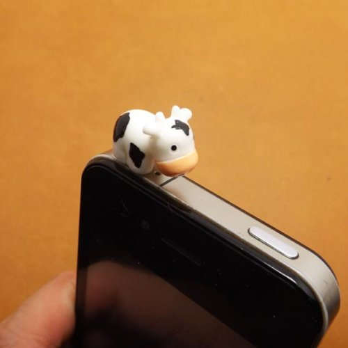 ZOEAST Lovely Animal World White Rabbit Little Deer Pegasus White Whale Swan Yellow Duck Honeybee Ram White Sheep Cow Zebra Elephant Resin Animal Dust Plug 3.5mm Phone Accessory Cell Phone Plug iPhone Dust Plug Samsung Plug Phone Charm Headphone Jack Earphone Cap Ear Cap Dust Plug (Cow)]()