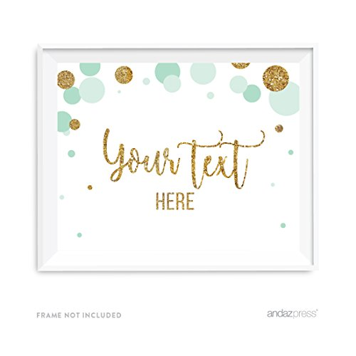 Andaz Press Mint Green Gold Glitter Boy Baby Shower Party Collection, Wall Art Gift, 8.5x11-inch, Fully Personalized Your Text Here, 1-Pack, Unframed by Andaz Press