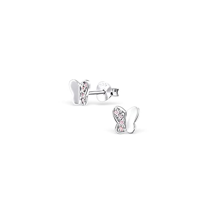 Liara Butterfly Ear Studs With Cubic Zirconia Sterling Silver 925 Polished And Nickel Free