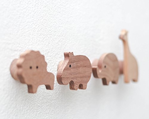 Natural Wooden Wall Hooks for Kids - 100% Solid Walnut Wood, Handmade Animal Clothes Hanger Wall Mounted Hook Organizer - Child Room Decorative Design - Pack of 4 by Kayu Living