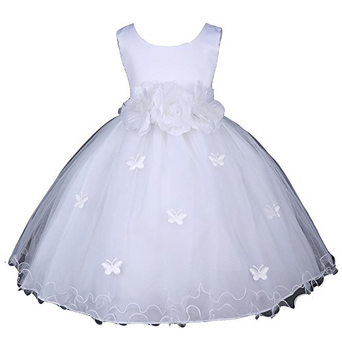 Pink Promise White Flower Girl Wedding Easter Ruffled Tulle Butterfly Petal Dress, White, 6-12M