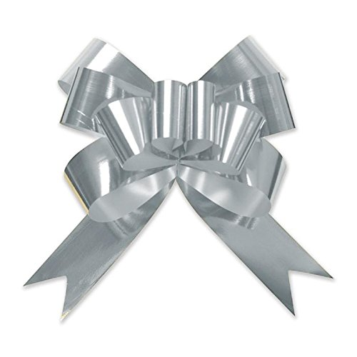 Berwick Offray 3900420 Butterfly Ribbon Pull Bow, 2'' Diameter with 8 Loops, Silver 100 Pieces