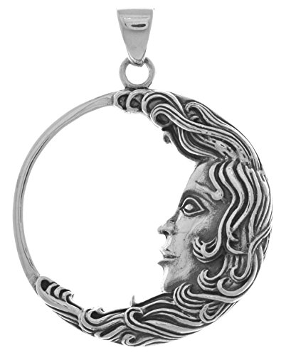 Jewelry Trends Sterling Silver Large Crescent Moon Goddess Face Pendant by Artist Oberon ()