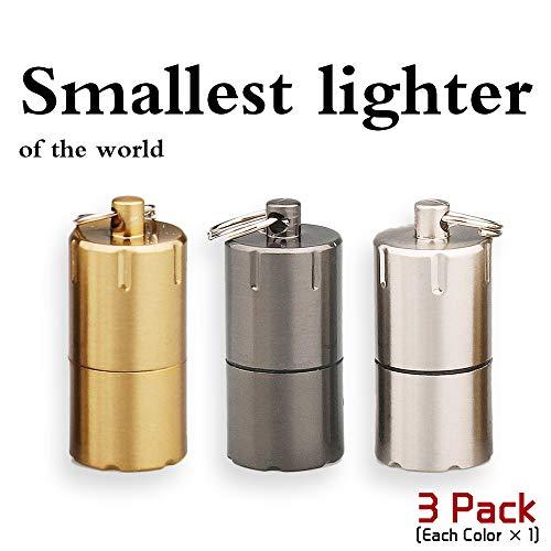 The Worlds Smallest Kerosene Lighter! Height 2.5cm/φ 1.3cm Capsule Lighter Portable Metal Miniature EDC Gear Waterproof Tiny Peanut Lighter (Fuel not included) (Mini 3 Pack)