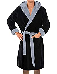Mens Hooded Robe Winter Lengthened Plush Shawl Bathrobe Home Clothes Long Sleeved Robe Coat