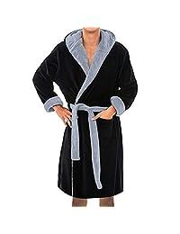 57d6d5176c Mens Hooded Robe -Veepola Plush Shawl Bathrobe Soft Spa Full Length Warm  Bathrobe
