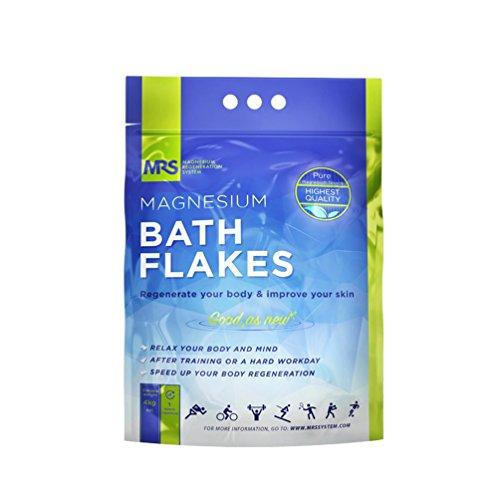 (Finest Magnesium Bath Flakes, Bath Salts, Epsom Salt, Body Muscle and Foot Soak, Regenerate Body and Mind, MRS Magnesium Regeneration System, 4kg - 8.8 lb)