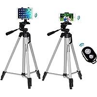 4in1 53 inch Camera Tripod+Phone Bracket+Tablet Mount+Bluetooth Remote Shutter for iPad Pro 9.7,iPad Air 2 1,iPad Mini/iPhone X,iPhone 8,8 Plus,7,7 Plus (Silver)
