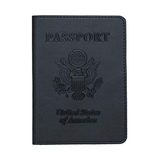ZONGSHU Leather Passport Holder Card Cover Case RFID Blocking Travel Wallet,Black